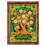 """Денежное дерево с монетами в рамке """"Пусть достаток наполнит ваш дом"""""""