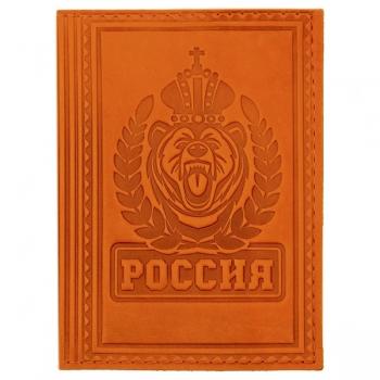 Обложка для паспорта из натуральной кожи Россия, вид 1