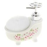 """Дозатор для мыла с подставкой для губки """"Весенние цветы"""""""